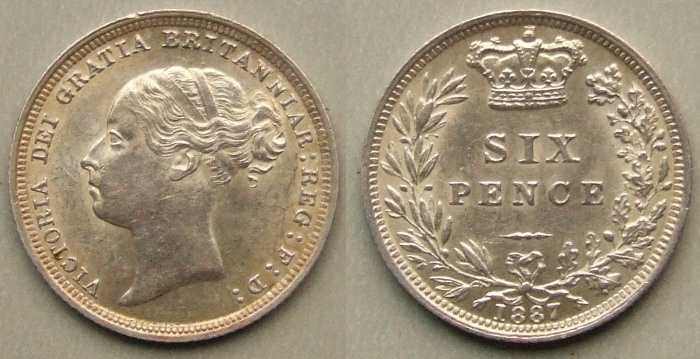 1887 Young Head sixpence