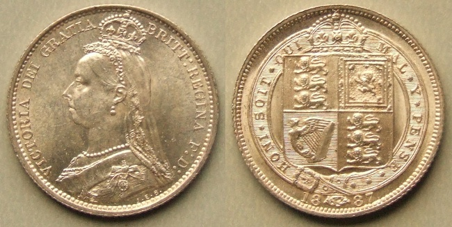 1887 Shield in Garter sixpence