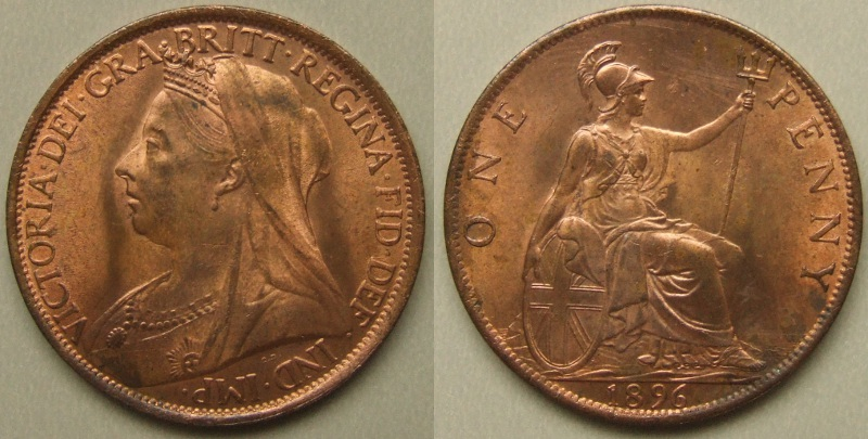 Uncirculated Queen Victoria 1896 penny