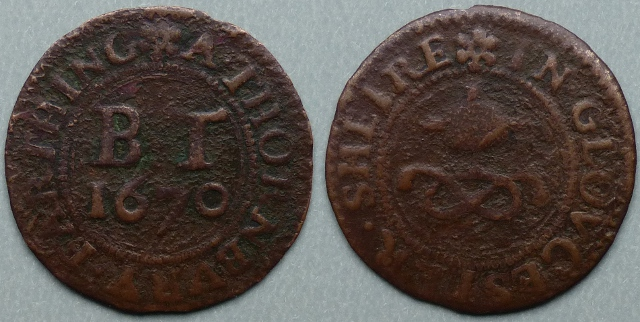 Thornbury, town issue 1670 farthing
