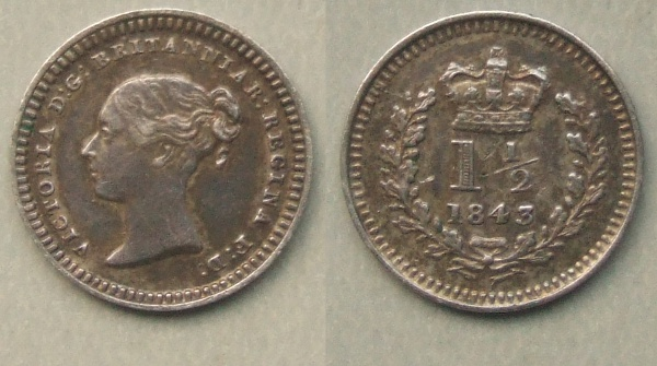 Queen Victoria Three-halfpence 1843