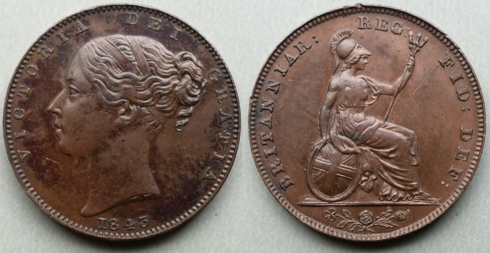Queen Victoria, 1843 farthing Roman I for 1 in date