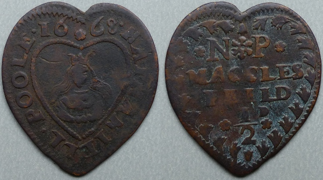 Macclesfield, Nathaniell Poole 1668 heart-shaped halfpenny